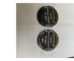 Brass locomotive name and maker plates